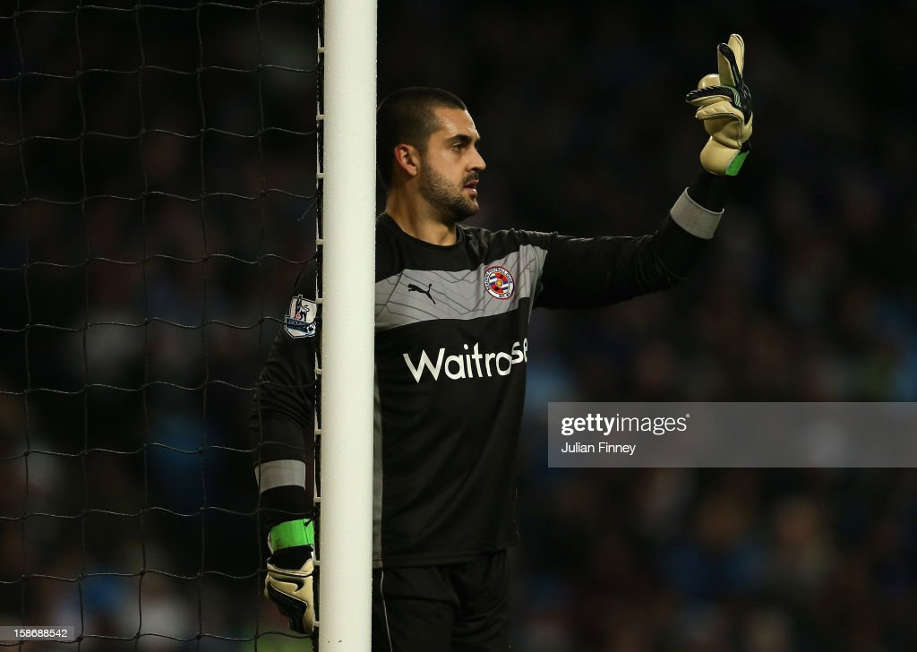 Adam Federici of Reading gives instructions during the Barclays Premier League match between Manchester City and Reading at Etihad Stadium on December 22, 2012 in Manchester, England.