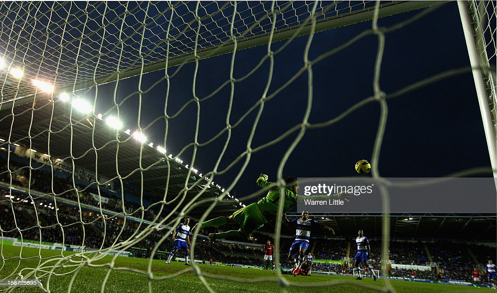Adam Federici of Reading saves a strike at goal during the Barclays Premier League match between Reading and Swansea City at Madejski Stadium on December 26, 2012 in Reading, England.