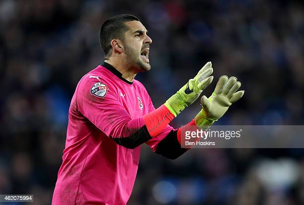 Adam Federici of Reading shouts instructions during the FA Cup Fourth Round match between Cardiff City and Reading at Cardiff City Stadium on January...
