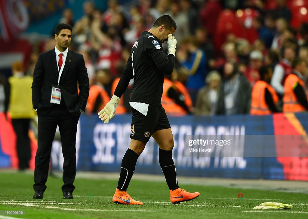 Adam Federici of Reading shows his emotions after defeat in the FA Cup Semi Final between Arsenal and Reading at Wembley Stadium on April 18, 2015 in London, England.