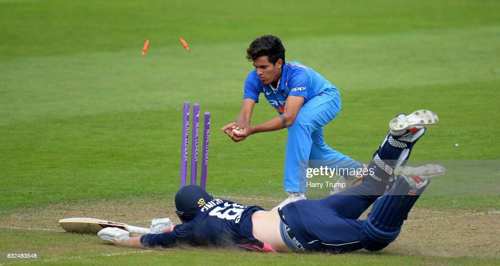 Adam Finch of England U19s dives to make his ground during the 5th Youth ODI match between England U19s and India Under 19s at The Cooper Associates County Ground on August 16, 2017 in Taunton, England.