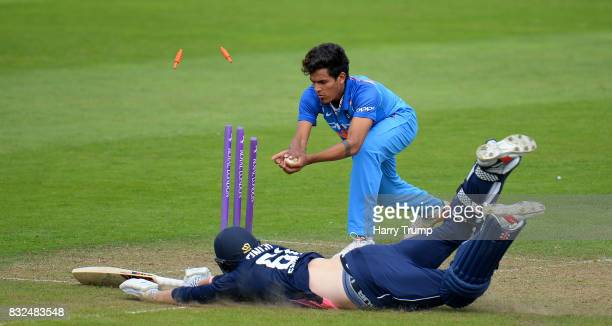 Adam Finch of England U19s dives to make his ground during the 5th Youth ODI match between England U19s and India Under 19s at The Cooper Associates...