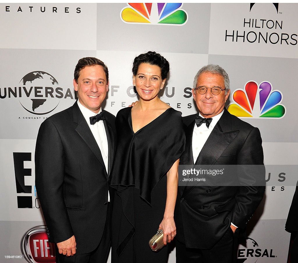 Adam Fogelson, Chairman, Universal Pictures, Donna Langley, Co-Chairman, Universal Studios and Ron Meyer, President, Chief Operating Officer, Universal Studios, attend the NBCUniversal Golden Globes viewing and after party held at The Beverly Hilton Hotel on January 13, 2013 in Beverly Hills, California.