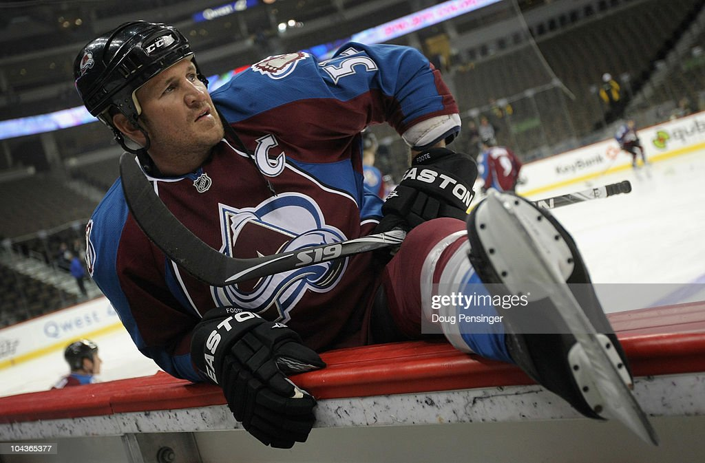 Adam Foote #52, captain of the Colorado Avalanche, warms up prior to facing the Los Angeles Kings during preseason NHL action at the Pepsi Center on September 22, 2010 in Denver, Colorado.