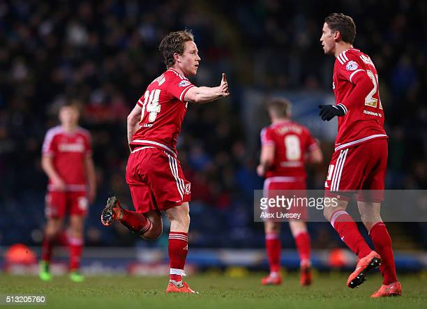 Adam Forshaw of Middlesbrough celebrates with Gaston Ramirez after scoring his goal during the Sky Bet Championship match between Blackburn Rovers...