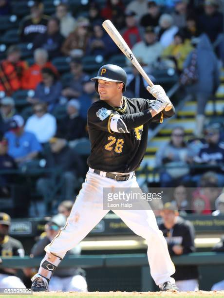 Adam Frazier of the Pittsburgh Pirate bats during the third inning of a spring training game against the Baltimore Orioles on March 15 2017 at...