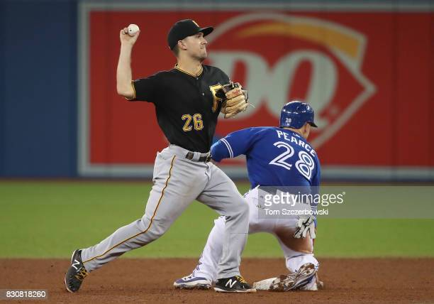 Adam Frazier of the Pittsburgh Pirates gets the force out of Steve Pearce of the Toronto Blue Jays at second base but cannot turn the double play as...