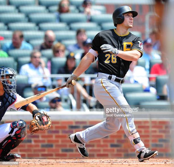 Adam Frazier of the Pittsburgh Pirates hits a second inning threerun home run against the Atlanta Braves at SunTrust Park on May 25 2017 in Atlanta...