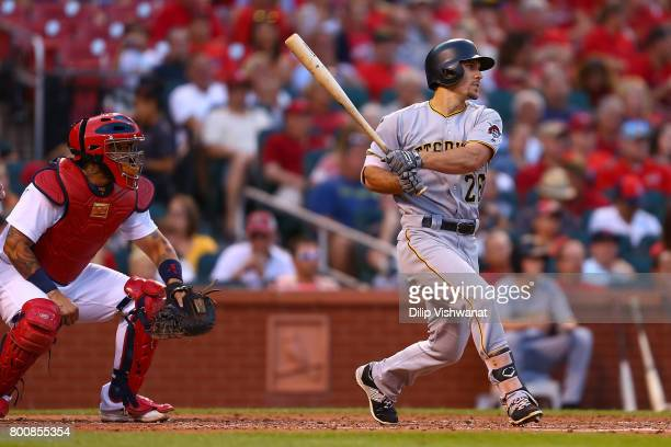 Adam Frazier of the Pittsburgh Pirates hits a twoRBI triple against the St Louis Cardinals in the third inning at Busch Stadium on June 25 2017 in St...