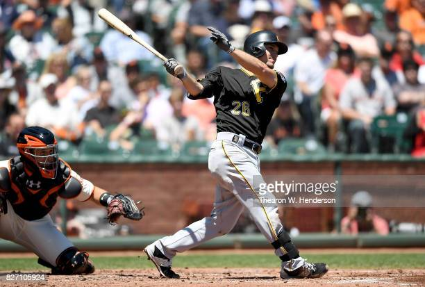 Adam Frazier of the Pittsburgh Pirates hits an rbi single scoring John Jaso against the San Francisco Giants in the top of the second inning at ATT...