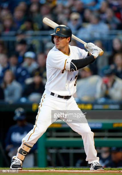 Adam Frazier of the Pittsburgh Pirates in action against the Atlanta Braves at PNC Park on April 8 2017 in Pittsburgh Pennsylvania