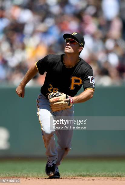 Adam Frazier of the Pittsburgh Pirates in action against the San Francisco Giants in the bottom of the third inning at ATT Park on July 26 2017 in...