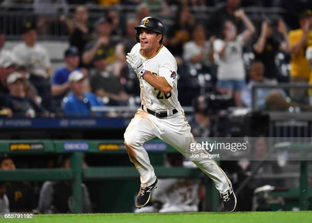 Adam Frazier of the Pittsburgh Pirates in action during the game against the Washington Nationals at PNC Park on May 17 2017 in Pittsburgh...