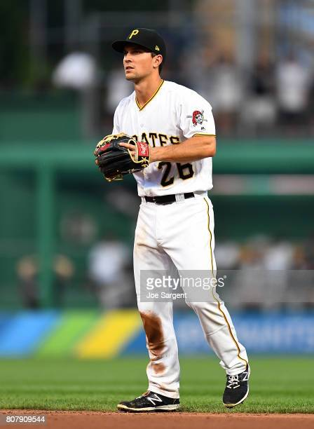 Adam Frazier of the Pittsburgh Pirates in action during the game against the San Francisco Giants at PNC Park on June 30 2017 in Pittsburgh...