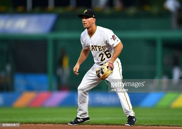 Adam Frazier of the Pittsburgh Pirates in action during the game against the Cincinnati Reds at PNC Park on August 2 2017 in Pittsburgh Pennsylvania