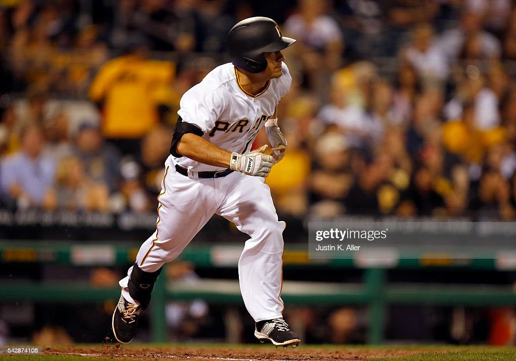 Adam Frazier #26 of the Pittsburgh Pirates records his first major league hit in the sixth inning during the game against the Los Angeles Dodgers at PNC Park on June 24, 2016 in Pittsburgh, Pennsylvania.