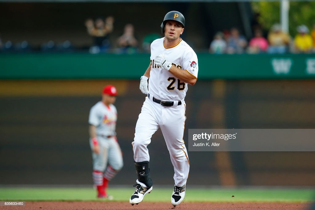 Adam Frazier #26 of the Pittsburgh Pirates rounds second after hitting a two run home run in the second inning against the St. Louis Cardinals at PNC Park on August 19, 2017 in Pittsburgh, Pennsylvania.