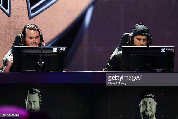 Adam Friberg gamertag 'friberg' and Patrik Lindberg gamertag 'f0rest' of Ninjas in Pyjamas react to winning a game in the second round against G2...