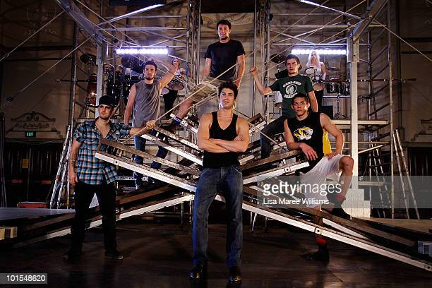 Adam Garcia joins cast members on stage during a media preview of Tap Dogs at Australia Hall on June 2 2010 in Sydney Australia The tap dance show...
