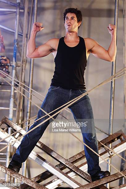Adam Garcia performs during a media preview of Tap Dogs at Australia Hall on June 2 2010 in Sydney Australia The tap dance show created by Australian...