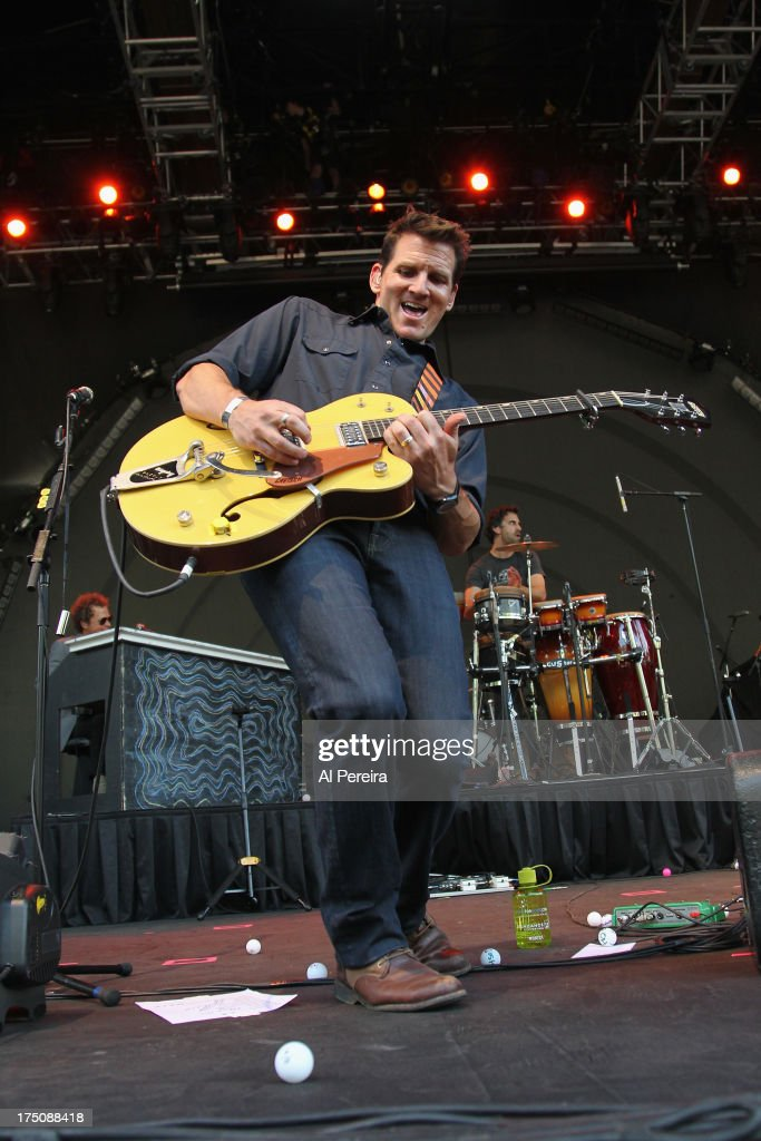 Adam Gardner of Guster performs when the Barenaked Ladies headline a benefit concert for Celebrate Brooklyn at the Prospect Park Bandshell on July 30...