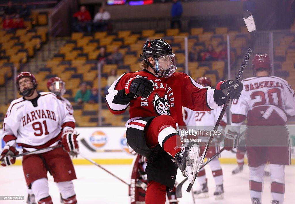 Adam Gaudette #8 of Northeastern University reacts after scoring a goal against Harvard University during the first period of the Beanpot Tournament consolation game at TD Garden on February 8, 2016 in Boston, Massachusetts.
