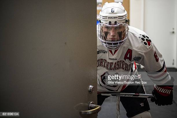 Adam Gaudette of Northeastern University waits in the locker room before a Frozen Fenway game against University of New Hampshire at Fenway Park on...