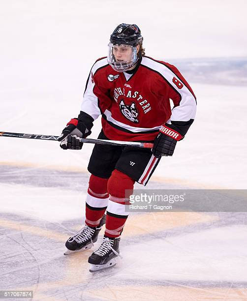 Adam Gaudette of the Northeastern Huskies against the Massachusetts Lowell River Hawks during the Hockey East Championship Final at TD Garden on...