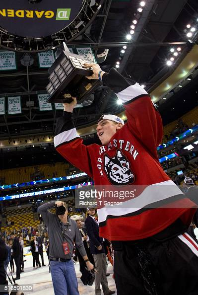 Adam Gaudette of the Northeastern Huskies celebrates a 32 victory against the Massachusetts Lowell River Hawks during NCAA hockey in the Hockey East...