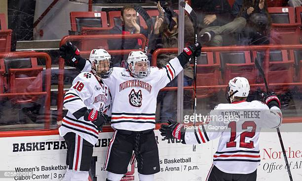 Adam Gaudette of the Northeastern Huskies celebrates his goal against the Minnesota Golden Gophers with his teammates John Stevens and Zach...