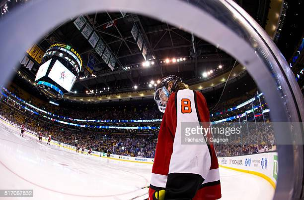Adam Gaudette of the Northeastern Huskies gets ready to play against the Massachusetts Lowell River Hawks during the Hockey East Championship Final...