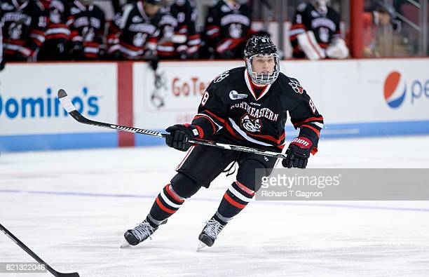 Adam Gaudette of the Northeastern Huskies skates against the Boston University Terriers during NCAA hockey at Agganis Arena on November 5 2016 in...