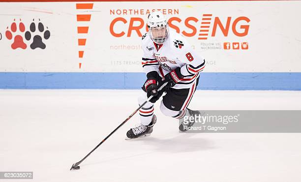 Adam Gaudette of the Northeastern Huskies skates against the Notre Dame Fighting Irish during NCAA hockey at Matthews Arena on November 13 2016 in...