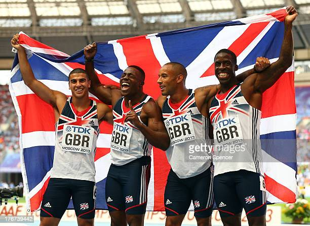 Adam Gemeli James Ellington Harry AikinesAryeetey and Dwain Chambers of Great Britain pose after the Men's 4x100 metres final during Day Nine of the...