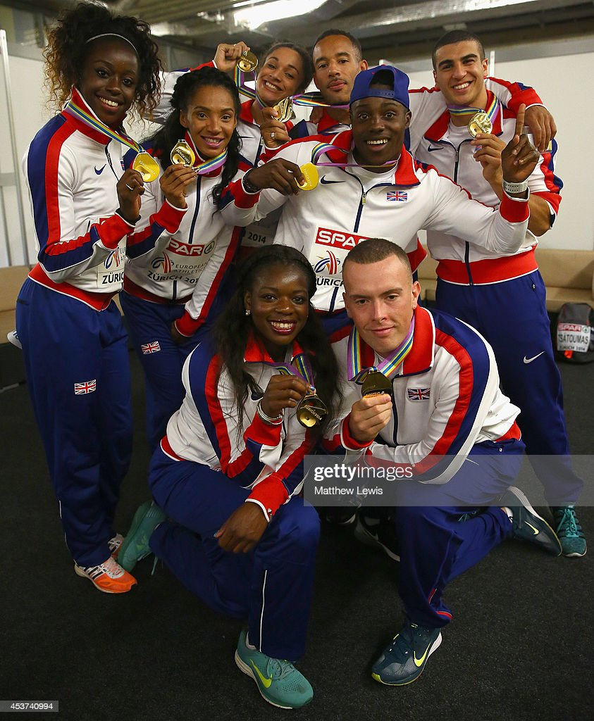 <a gi-track='captionPersonalityLinkClicked' href=/galleries/search?phrase=Adam+Gemili&family=editorial&specificpeople=7091483 ng-click='$event.stopPropagation()'>Adam Gemili</a>, <a gi-track='captionPersonalityLinkClicked' href=/galleries/search?phrase=Ashleigh+Nelson+-+Track+and+Field+Athlete&family=editorial&specificpeople=13496592 ng-click='$event.stopPropagation()'>Ashleigh Nelson</a>, <a gi-track='captionPersonalityLinkClicked' href=/galleries/search?phrase=Richard+Kilty&family=editorial&specificpeople=5432971 ng-click='$event.stopPropagation()'>Richard Kilty</a>, <a gi-track='captionPersonalityLinkClicked' href=/galleries/search?phrase=James+Ellington&family=editorial&specificpeople=2993051 ng-click='$event.stopPropagation()'>James Ellington</a>, Asha Phillip, <a gi-track='captionPersonalityLinkClicked' href=/galleries/search?phrase=Harry+Aikines-Aryeetey&family=editorial&specificpeople=247216 ng-click='$event.stopPropagation()'>Harry Aikines-Aryeetey</a>, <a gi-track='captionPersonalityLinkClicked' href=/galleries/search?phrase=Jodie+Williams+-+Sprinter&family=editorial&specificpeople=5964402 ng-click='$event.stopPropagation()'>Jodie Williams</a> and <a gi-track='captionPersonalityLinkClicked' href=/galleries/search?phrase=Desiree+Henry&family=editorial&specificpeople=5969999 ng-click='$event.stopPropagation()'>Desiree Henry</a> of Great Britain pictured after winning Gold in the Mens and Womens 4x100m relay during day six of the 22nd European Athletics Championships at Stadium Letzigrund on August 17, 2014 in Zurich, Switzerland.