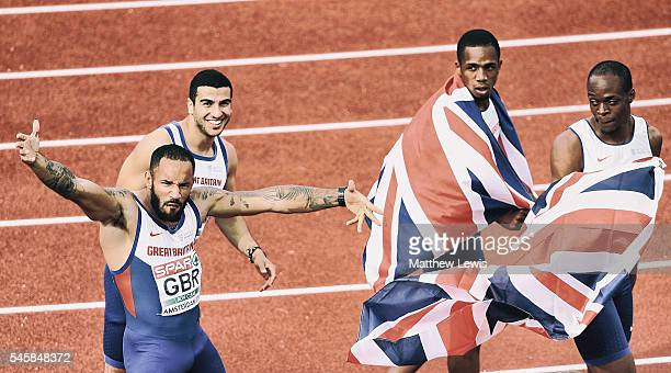 Adam Gemili James Ellington James Dasaolu and CJ Ujah of Great Britain celebrate winning the Mens 4x100m relay Final during day five of the 23rd...