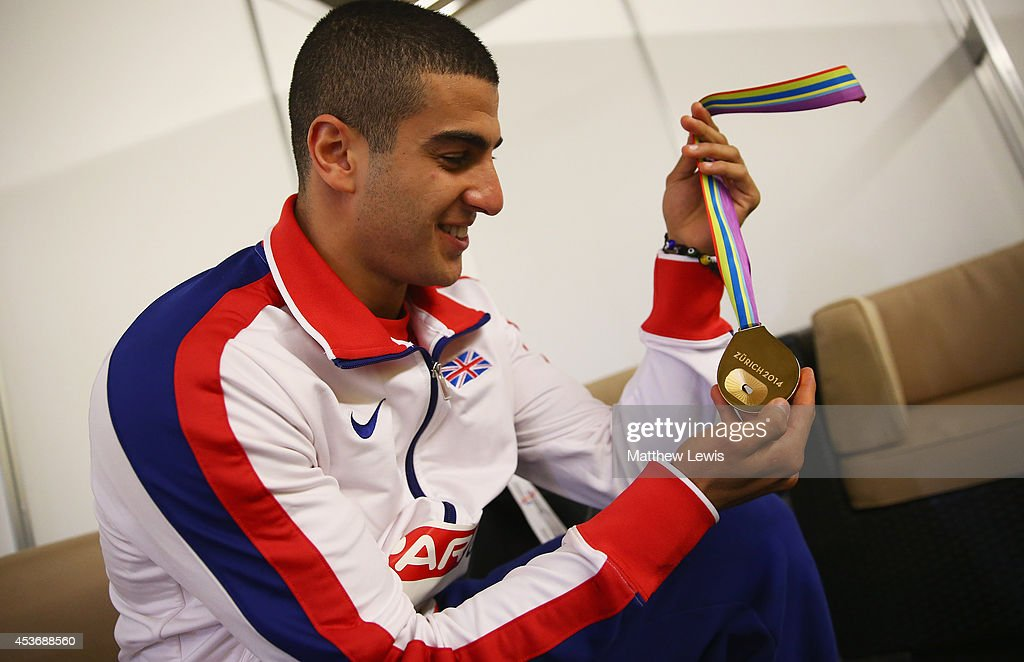 Adam Gemili of Great Britain pictured in the medal ceremony room with his gold medal from the Mens 200m Final during the 22nd European Athletics...
