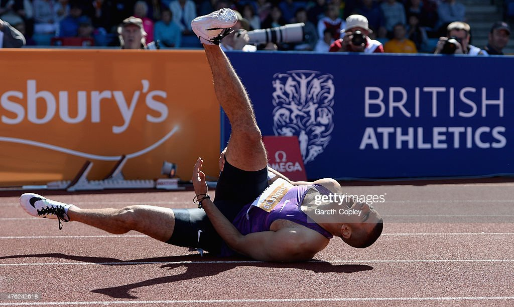 Adam Gemili of Great Britain pulls up with injury during Mens 100 metres during the Sainsbury's Birmingham Grand Prix at Alexander Stadium on June 7...