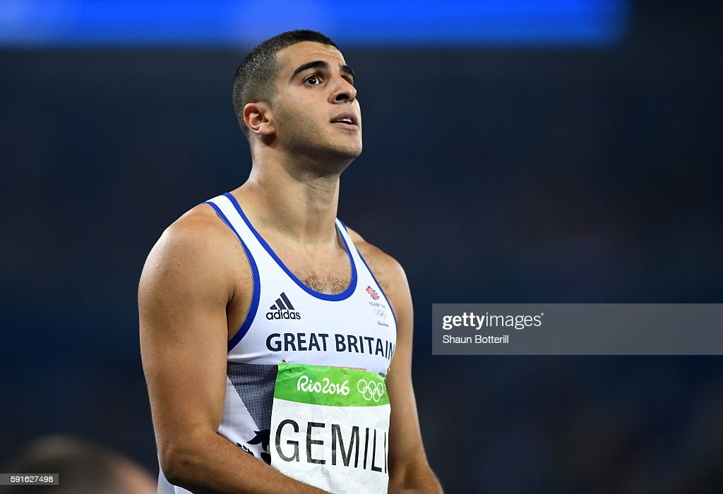 Adam Gemili of Great Britain reacts after competing in the Men's 200m Semifinals on Day 12 of the Rio 2016 Olympic Games at the Olympic Stadium on...