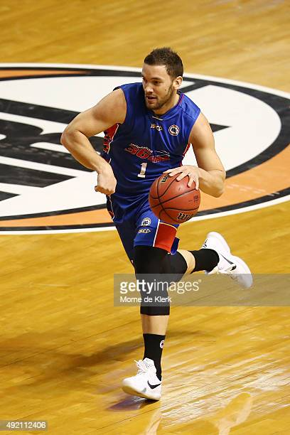 Adam Gibson of the 36ers brings the ball forward during the round one NBL match between Adelaide 36ers and the Perth Wildcats at Adelaide Arena on...