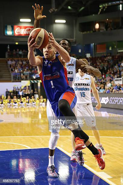 Adam Gibson of the 36ers goes for the basket during the round four NBL match between the Adelaide 36ers and the New Zealand Breakers at Adelaide...