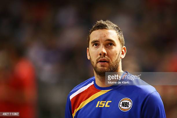Adam Gibson of the 36ers looks on during the round one NBL match between Adelaide 36ers and the Perth Wildcats at Adelaide Arena on October 10 2015...