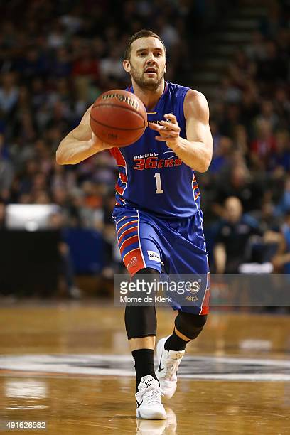 Adam Gibson of the 36ers passes the ball during the round one NBL match between the Adelaide 36ers and the New Zealand Breakers at the Adelaide Arena...