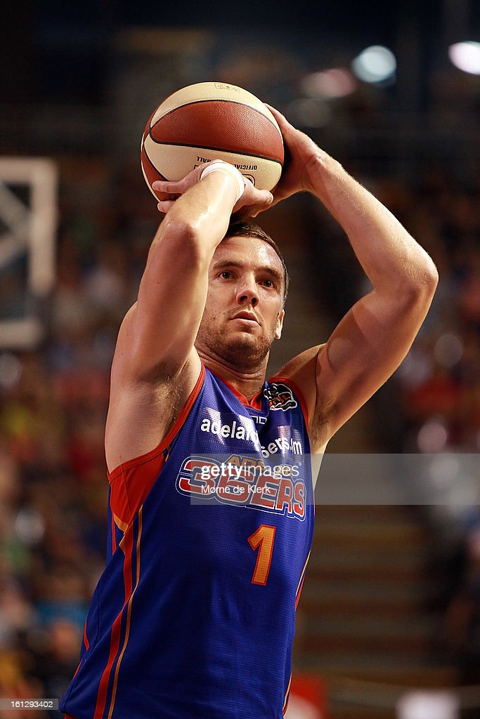 Adam Gibson of the 36ers takes a free throw during the round 18 NBL match between the Adelaide 36ers and the Melbourne Tigers at Adelaide Arena on February 10, 2013 in Adelaide, Australia.