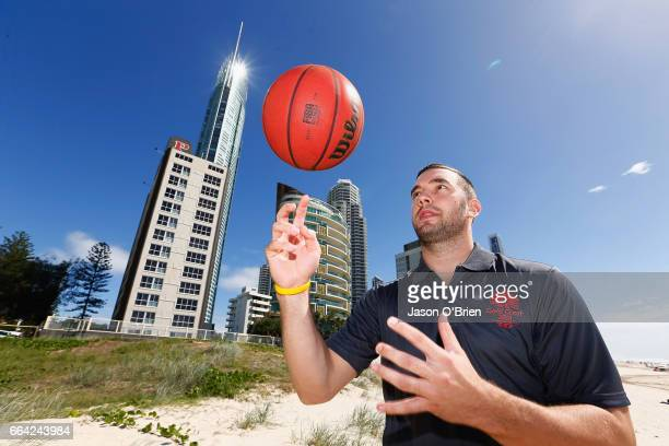 Adam Gibson of the Boomers poses for a photo during the 2018 Commonwealth Games One Year To Go ceremony at Broadbeach on the Gold Coast on April 4...