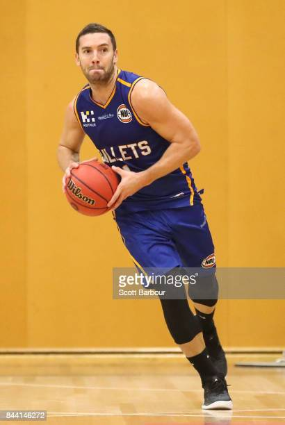 Adam Gibson of the Brisbane Bullets controls the ball during the 2017 NBL Blitz preseason match between the Sydney Kings and the Brisbane Bullets at...
