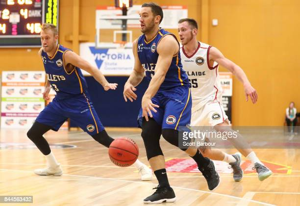 Adam Gibson of the Brisbane Bullets controls the ball during the 2017 NBL Blitz preseason match between the Brisbane Bullets and the Adelaide 36ers...