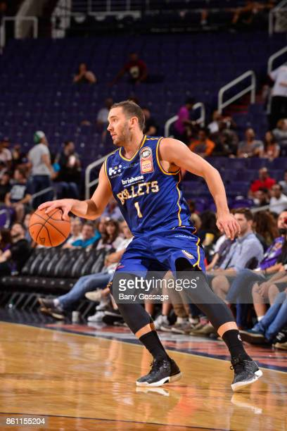 Adam Gibson of the Brisbane Bullets handles the ball during the preseason game against the Phoenix Suns on October 13 2017 at Talking Stick Resort...