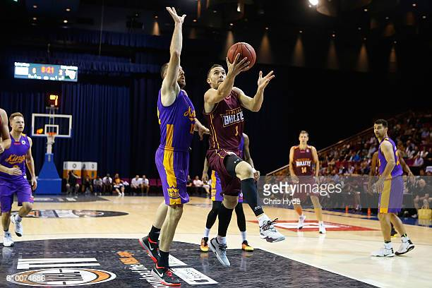 Adam Gibson of the Bullets shoots during the Australian Basketball Challenge match between Brisbane Bullets and Sydney Kings at the Brisbane...