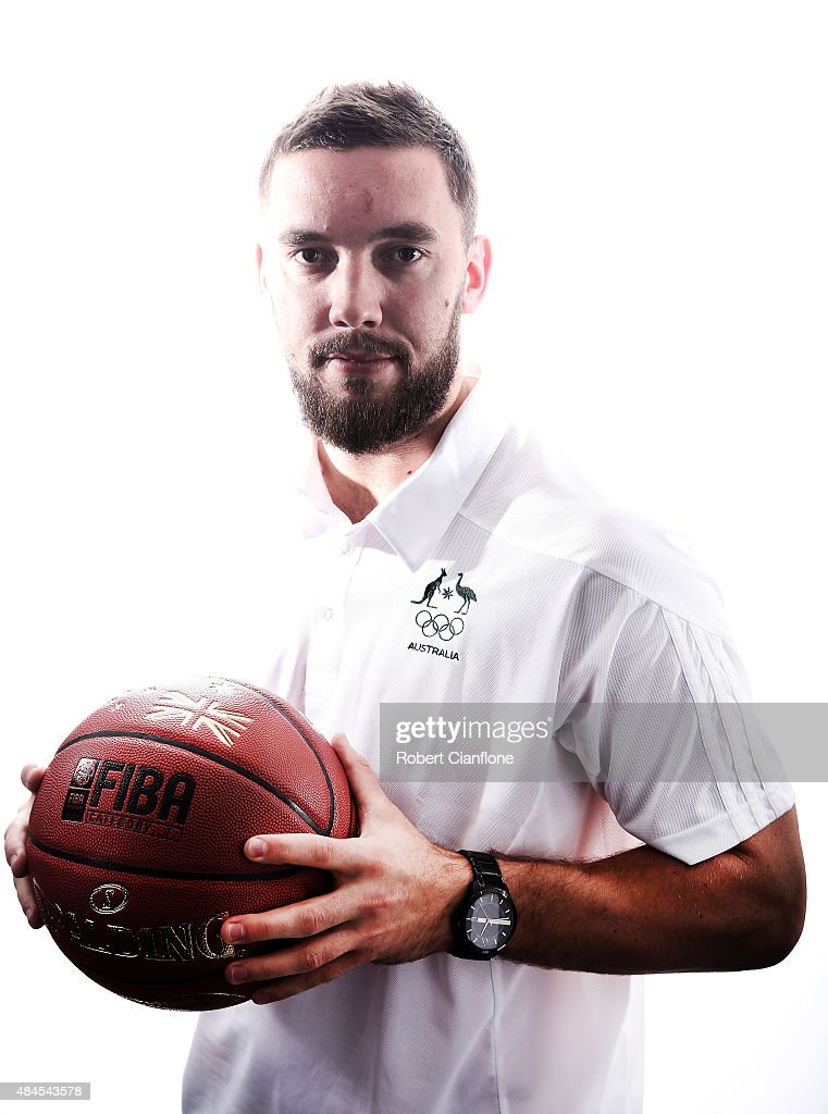 Adam Gibson poses during an Australian Boomers Basketball team portrait session at The Blackman Hotel on August 20, 2015 in Melbourne, Australia.